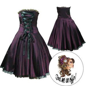 Dresses & Skirts - Gothic Corset Ribbon Plus Size Strapless Dress